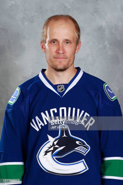 Sami Salo of the Vancouver Canucks poses for his official headshot for the 20112012 NHL season at Rogers Arena in Vancouver British Columbia Canada
