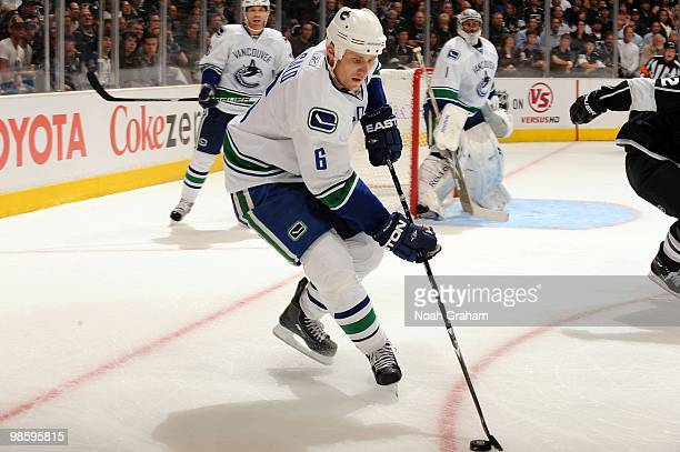 Sami Salo of the Vancouver Canucks skates with the puck against the Los Angeles Kings in Game Three of the Western Conference Quarterfinals during...
