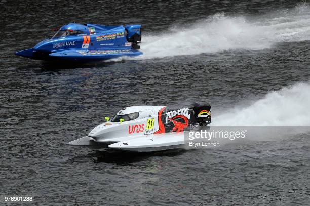 Sami Selio of Finland and Mad Croc Baba Racing and Alex Carella of Italy and the Victory Team in action during free practice for the F1H2O UIM...