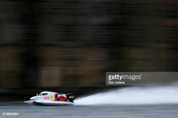 Sami Selio of Finland and MadCroc BABA racing in action during free practice ahead of round two of the 2018 Championship the F1H2O UIM Powerboat...