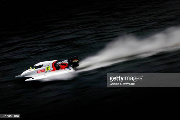 Sami Selio of Finland and Team Mad Croc Baba Racing in action during the F1H2O UIM World Championship Grand Prix of London on June 17 2018 in London...