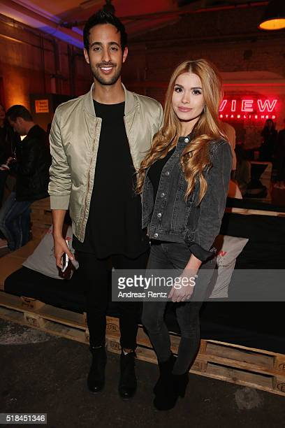 Sami Slimani and Pamela Reif attend the REVIEW by Sami Slimani Capsule Collection launch party on March 31 2016 in Duesseldorf Germany