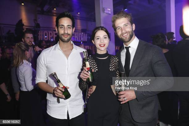 Sami Slimani LisaMarie Koroll and Andre Hamann attend Moet Chandon Grand Scores 2017 at Umspannwerk on February 2 2017 in Berlin Germany
