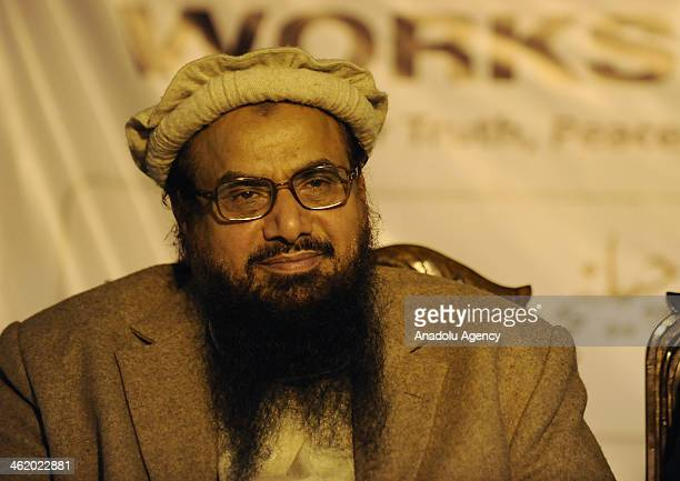 Sami ul Haq 'Father of the Taliban' and Hafiz Saeed the leader of JamaatudDawa take part at a conference organized by DifaePakistan Council January...
