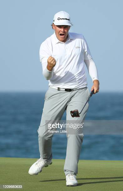 Sami Valimaki of Finland celebrates a birdie on the 18th during the final round of the Oman Open at Al Mouj Golf Complex on March 01, 2020 in Muscat,...