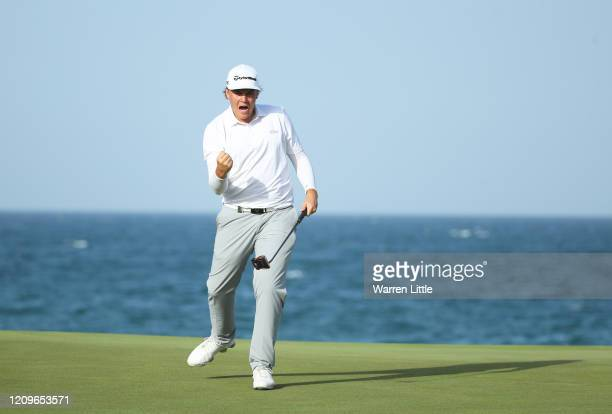 Sami Valimaki of Finland celebrates after a putt on the 18th during Day Four of the Oman Open at Al Mouj Golf Complex on March 01, 2020 in Muscat,...
