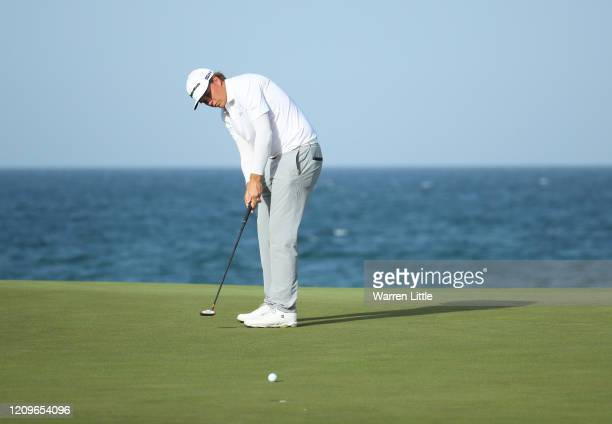 Sami Valimaki of Finland putts on the 18th during Day Four of the Oman Open at Al Mouj Golf Complex on March 01, 2020 in Muscat, Oman.