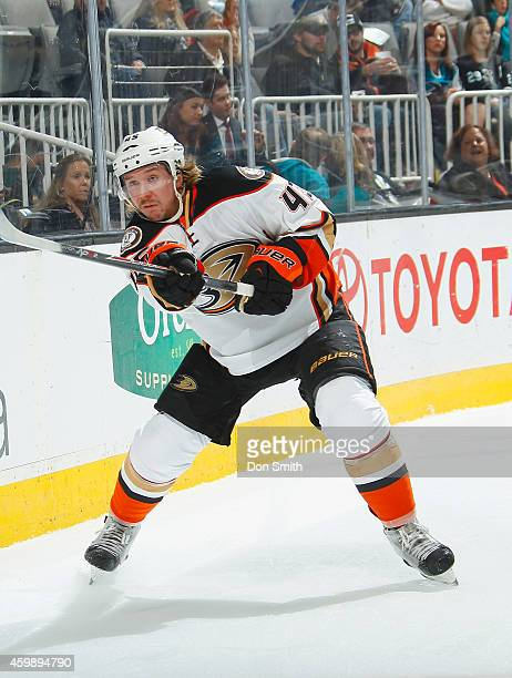 Sami Vatanen of the Anaheim Ducks passes the puck against the San Jose Sharks during an NHL game on November 29, 2014 at SAP Center in San Jose,...