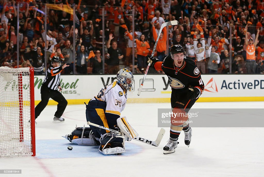 Sami Vatanen #45 of the Anaheim Ducks reacts after scoring on a breakaway against goaltender Pekka Rinne #35 of the Nashville Predators in the third period of Game Five of the Western Conference First Round during the 2016 NHL Stanley Cup Playoffs at Honda Center on April 23, 2016 in Anaheim, California. Vatanen's was the eventual game-winning goal.