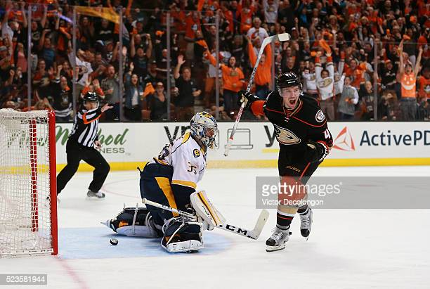 Sami Vatanen of the Anaheim Ducks reacts after scoring on a breakaway against goaltender Pekka Rinne of the Nashville Predators in the third period...