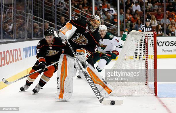 Sami Vatanen of the Anaheim Ducks skates as Anton Khudobin of the Anaheim Ducks clears the puck during the second period of a game against the...