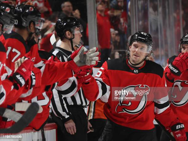 Sami Vatanen of the New Jersey Devils celebrates his goal against the Anaheim Ducks at 1:00 of the third period at the Prudential Center on December...