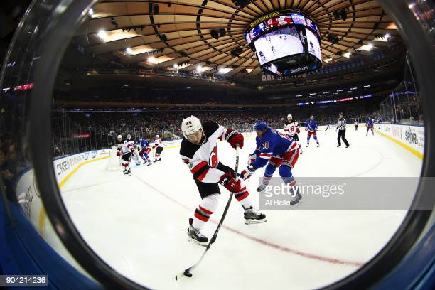 Sami Vatanen of the New Jersey Devils handles the puck against the New York Rangers at Madison Square Garden on December 9 2017 in New York City This...