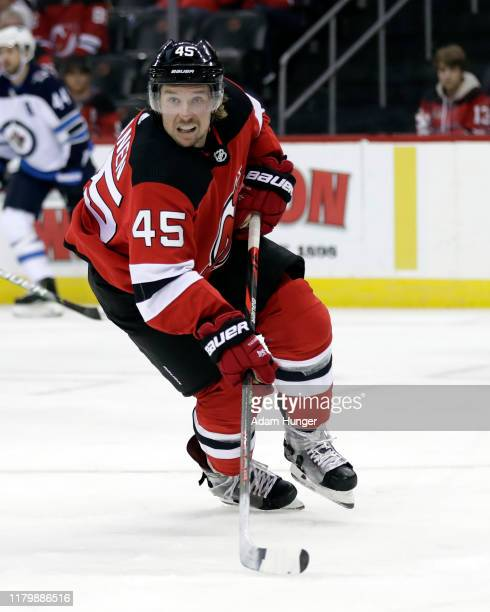 Sami Vatanen of the New Jersey Devils in action against the Winnipeg Jets during the third period at the Prudential Center on October 4, 2019 in...