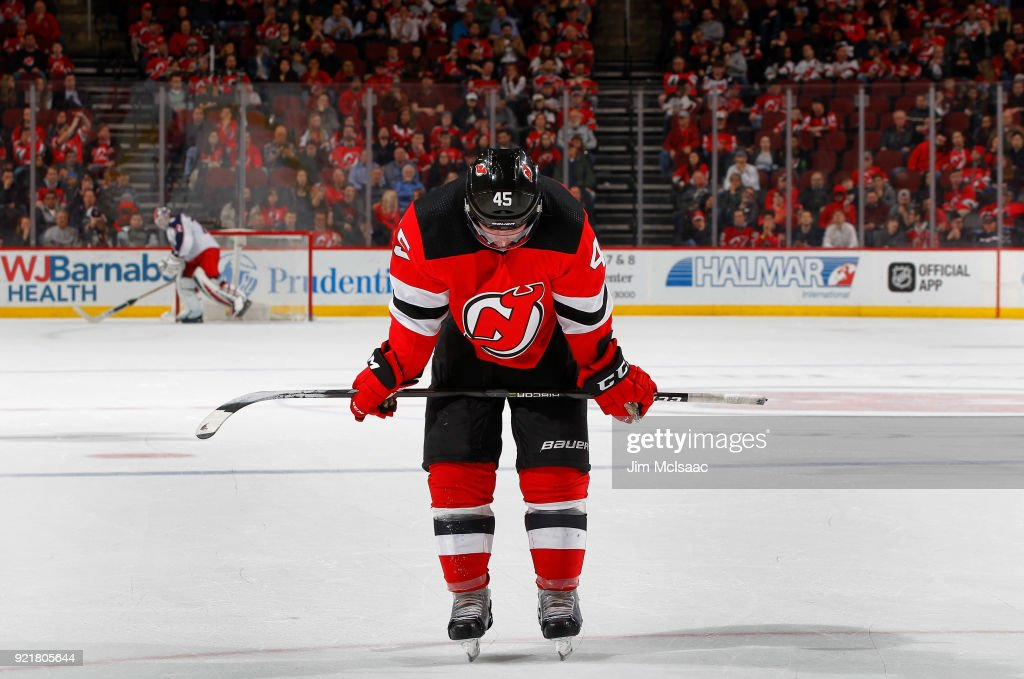 Sami Vatanen #45 of the New Jersey Devils looks on during the final momencts of a game against the Columbus Blue Jackets on February 20, 2018 at Prudential Center in Newark, New Jersey.