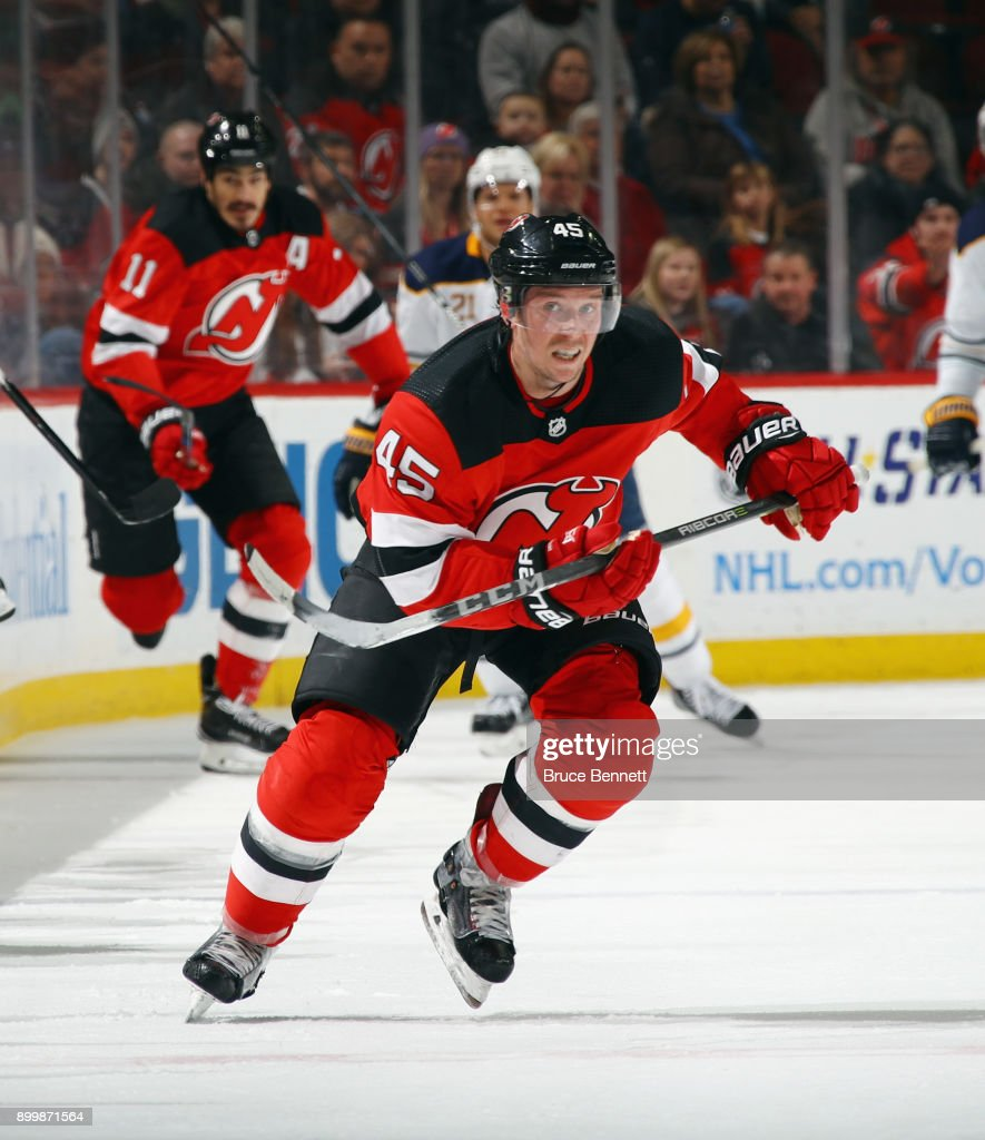 Sami Vatanen #45 of the New Jersey Devils skates against the Buffalo Sabres at the Prudential Center on December 29, 2017 in Newark, New Jersey. The Sabres defeated the Devils 4-3 in overtime.