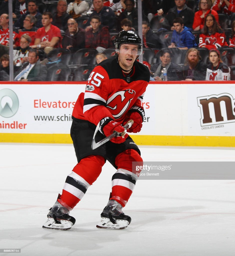 Sami Vatanen #45 of the New Jersey Devils skates against the Columbus Blue Jackets at the Prudential Center on December 8, 2017 in Newark, New Jersey. The Blue Jackets defeated the Devils 5-3.