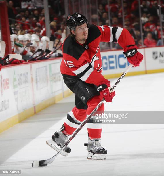 Sami Vatanen of the New Jersey Devils skates against the Florida Panthers at the Prudential Center on October 27, 2018 in Newark, New Jersey. The...