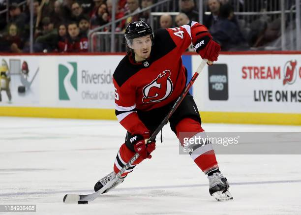 Sami Vatanen of the New Jersey Devils takes a shot in the second period against the Philadelphia Flyers at Prudential Center on November 01, 2019 in...