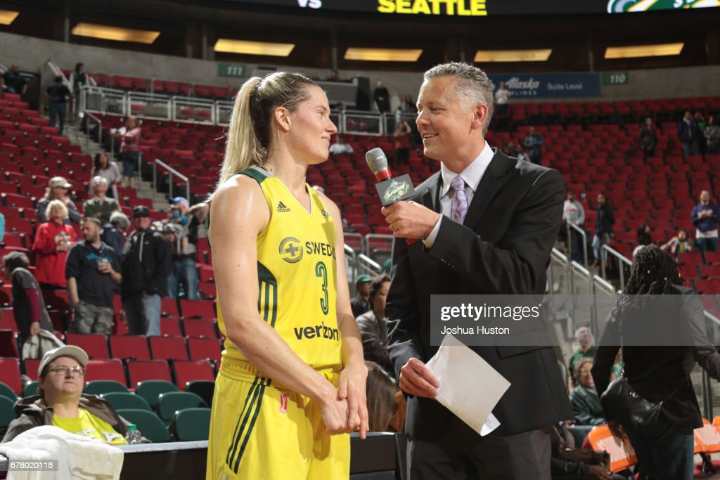 Sami Whitcomb #3 of the Seattle Storm is interviewed after a game against the Phoenix Mercury on May 3, 2017 at Key Arena in Seattle, Washington.