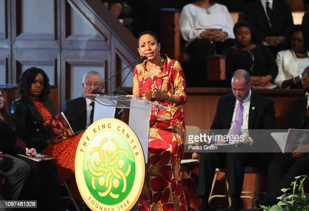 Samia Nkrumah, Chairperson, Convention People's Party, Daughter of Kwame Nkrumah, First President of Ghana, speaks onstage during 2019 Martin Luther...
