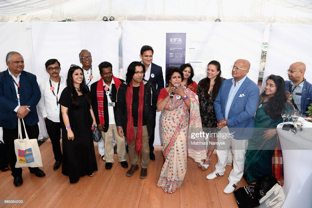 Samia Zaman (C) and guests attend From Dhaka to Cannes: A Celebration of Talent hosted by the International Emerging Film Talent Association(IEFTA) at La Plage Royale on May 19, 2017 in Cannes, France.