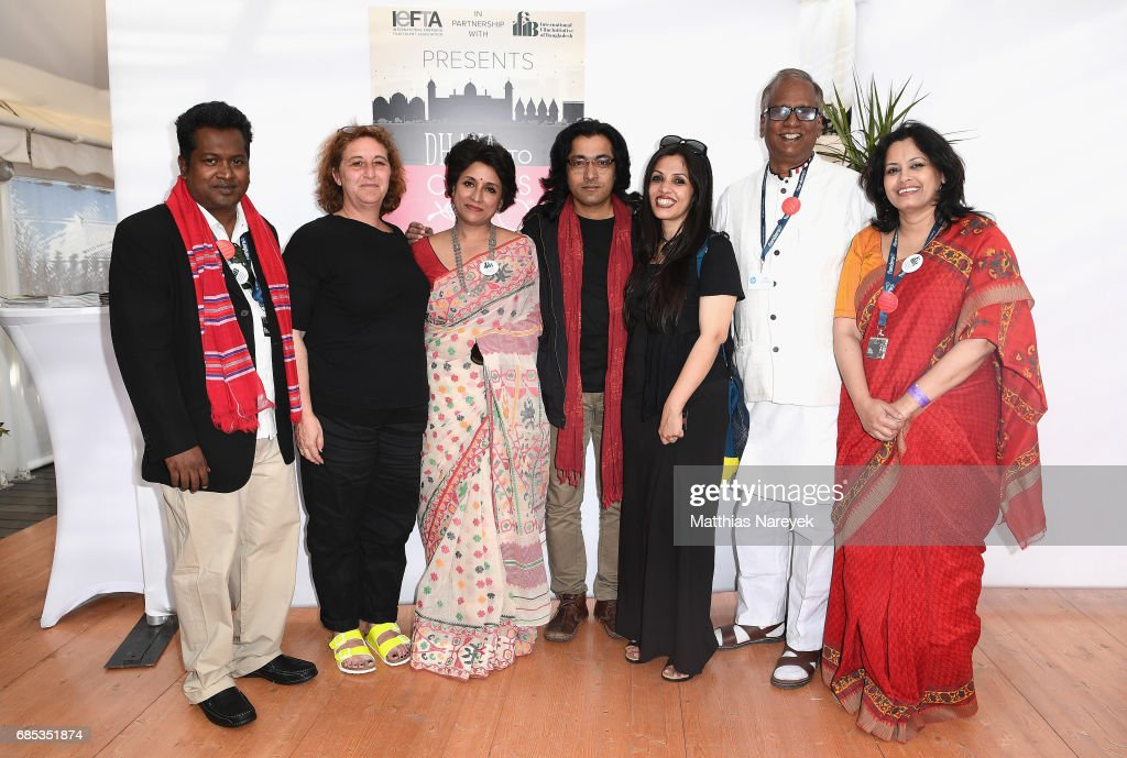 Samia Zaman (3rd L), Nasiruddin Yousuff (2nd R) and guests attend From Dhaka to Cannes: A Celebration of Talent hosted by the International Emerging Film Talent Association(IEFTA) at La Plage Royale on May 19, 2017 in Cannes, France.