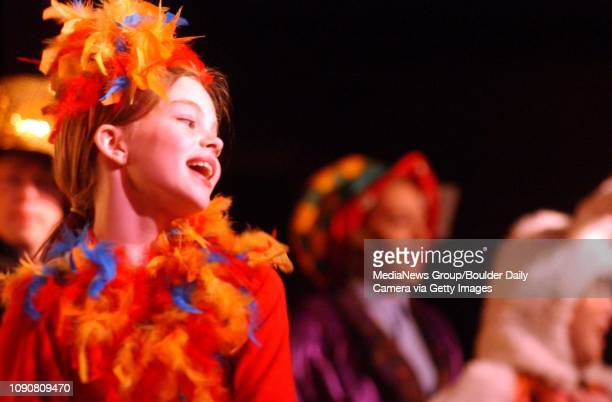 OCTOBER 30 2004 / LONGMONT Samie Johnson Dodo Bird sings about running a race during Alice in Wonderland at Jesters School for the Performing Arts