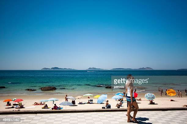 Samil beach and Cíes Islands near Vigo, Galicia, Spain.