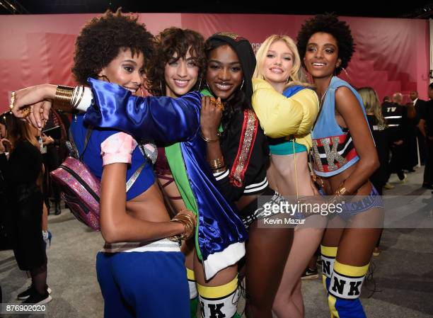 Samile Bermannelli Alanna Arington Zuri Tibby Maggie Laine and Alecia Morais backstage during 2017 Victoria's Secret Fashion Show In Shanghai at...