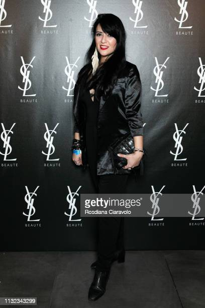 Samina Seyed poses at the YSL Beauty Club Milan during Milan Fashion Week Autumn/Winter 2019/20 on February 24, 2019 in Milan, Italy.