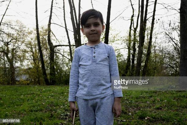 Samir 5 years old from Afghanistan enjoying the weekend in the city park of Schwandorf Bavaria on 1st April 2017