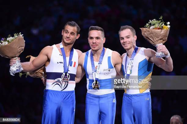 Samir Ait Said of France Eleftherios Petrounias of Greece and Oleg Verniaiev of Ukraine during the FIG World Cup Challenge 'Internationaux de France'...