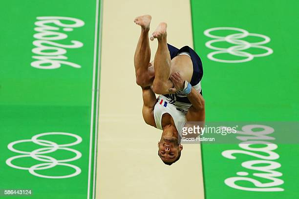Samir Ait Said of France vaults on his way to breaking his leg while competing during the Artistic Gymnastics Men's Team qualification on Day 1 of...