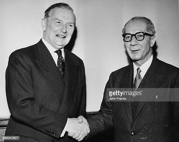 Samir AlRifai Prime Minister of Jordan shaking hands with British Foreign Minister Selwyn Lloyd at the Foreign Office London April 10th 1959