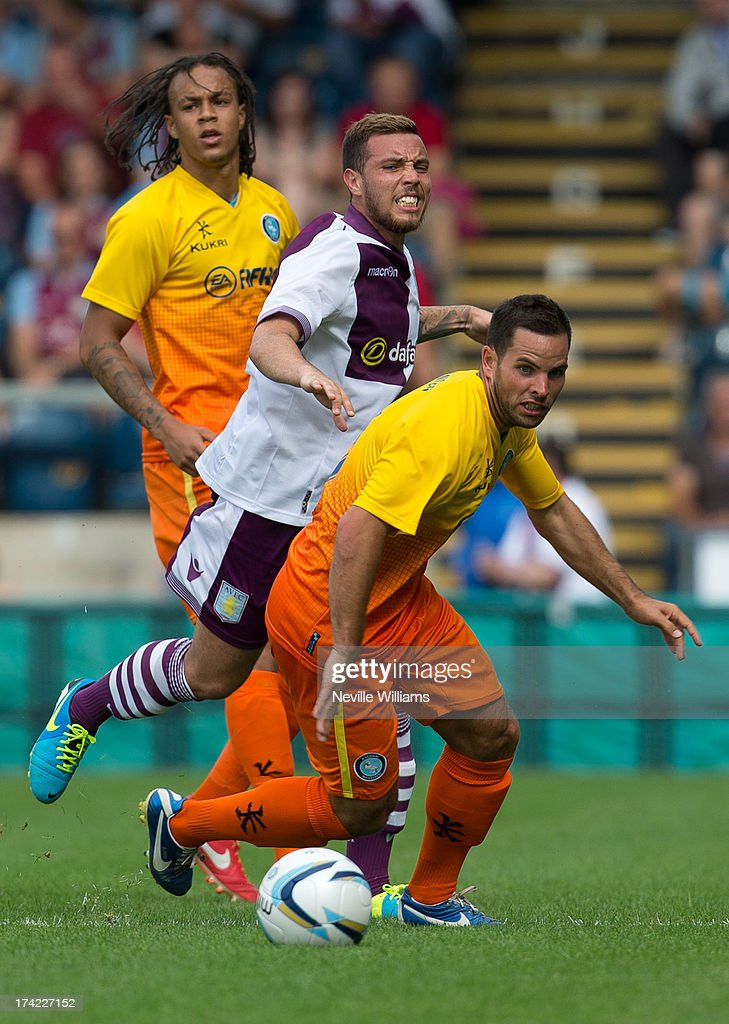 Samir Carruthers (C) of Aston Villa in action during the Pre Season Friendly match between Wycombe Wanderers and Aston Villa at Adams Park on July 20, 2013 in High Wycombe, England.