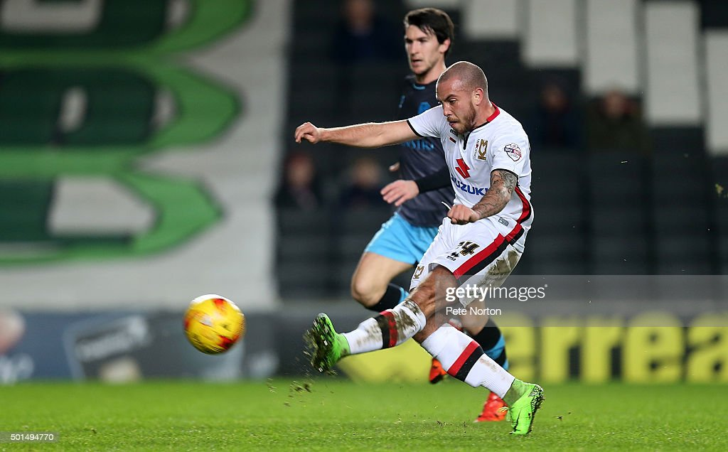Samir Carruthers of Milton Keynes Dons has a shot at goal during the Sky Bet Championship match between Milton Keynes Dons and Sheffield Wednesday at stadium:mk on December 15, 2015 in Milton Keynes, United Kingdom.