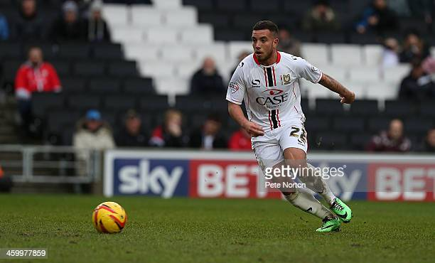 Samir Carruthers of Milton Keynes Dons in action during the Sky Bet League One match between Milton Keynes Dons and Colchester United at Stadium MK...