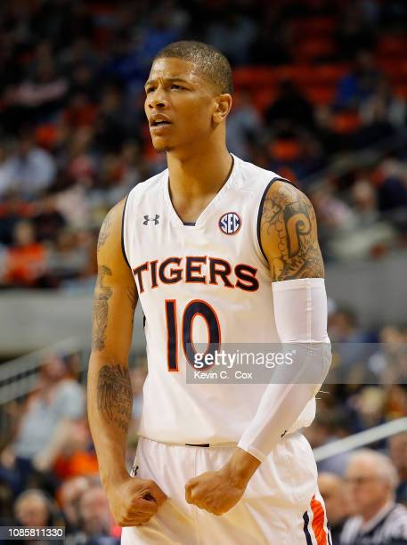 Samir Doughty of the Auburn Tigers reacts during the game against the Murray State Racers at Auburn Arena on December 22 2018 in Auburn Alabama