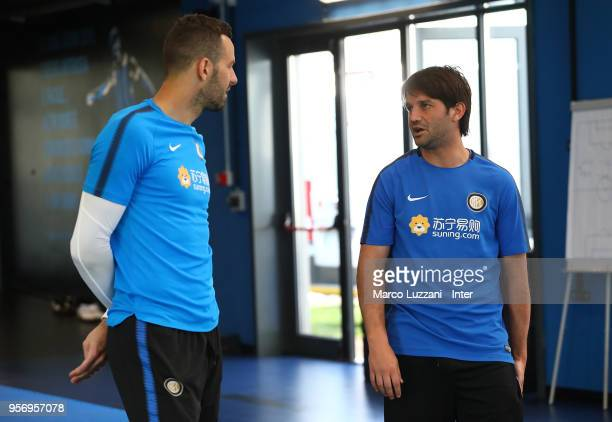 Samir Handanovic and Cristian Chivu of Inter Forever during the FC Internazionale training session at the club's training ground Suning Training...