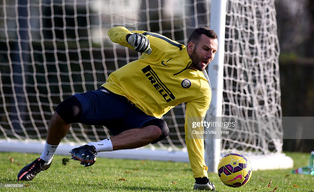 Samir Handanovic during FC Internazionale Training Session at Appiano Gentile on November 19, 2014 in Como, Italy.