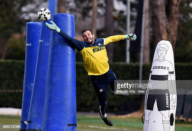 Samir Handanovic during FC Internazionale training session at the club's training ground at Appiano Gentile on March 04 2015 in Como Italy