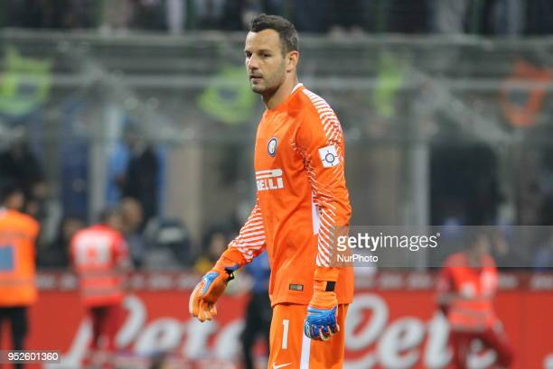 Samir Handanovic during the Serie A football match between FC Internazionale and Juventus FC at Giuseppe Meazza stadium on April 28 2018 in Milan...