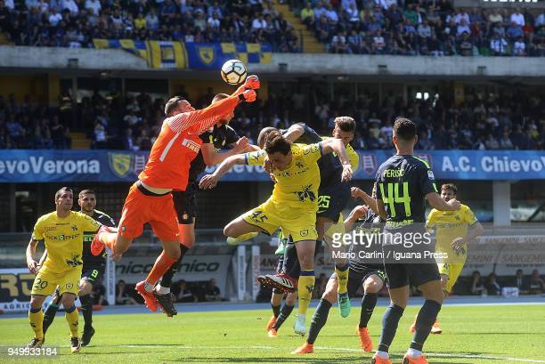 Samir Handanovic goalkeeper of FC Internazionale saves his goal during the serie A match between AC Chievo Verona and FC Internazionale at Stadio...
