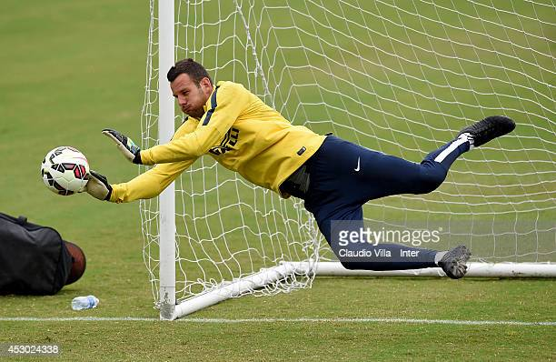 Samir Handanovic in action during a FC Internazionale Milano training session at Catholic University of America on August 01 2014 in Washington...
