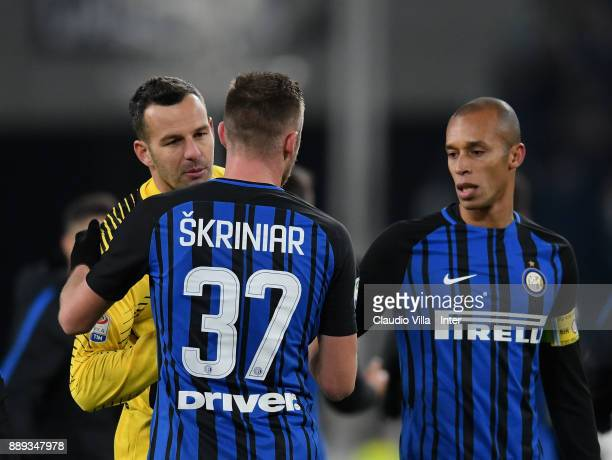 Samir Handanovic Milan Skriniar and Joao Miranda de Souza Filh of FC Internazionale celebrate at the end of the Serie A match between Juventus and FC...