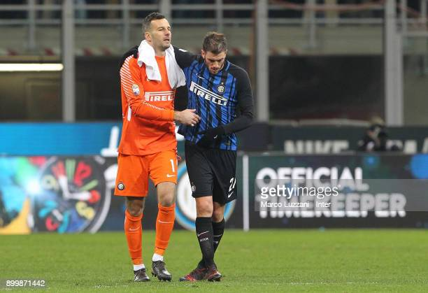Samir Handanovic of FC Internazionale and Davide Santon of FC Internazionale during the serie A match between FC Internazionale and SS Lazio at...