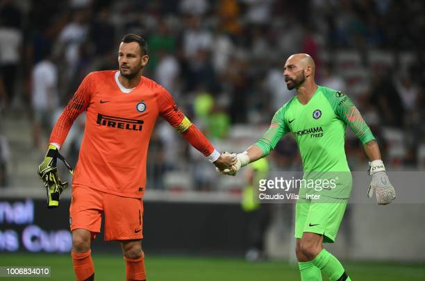 Samir Handanovic of FC Internazionale and Willy Caballero of Chelsea shake hands during the International Champions Cup 2018 match between Chelsea...