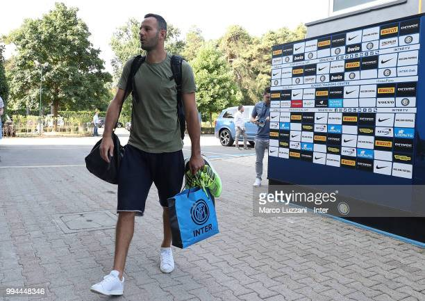 Samir Handanovic of FC Internazionale arrives at the club's training ground Suning Training Center in memory of Angelo Moratti on July 9 2018 in Como...