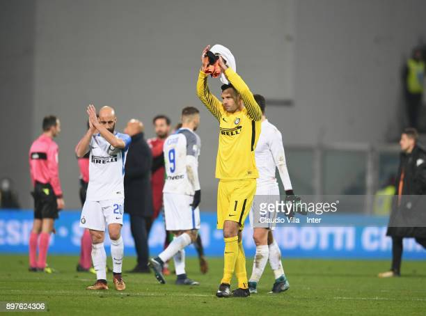 Samir Handanovic of FC Internazionale at the end of the serie A match between US Sassuolo and FC Internazionale at Mapei Stadium Citta' del Tricolore...
